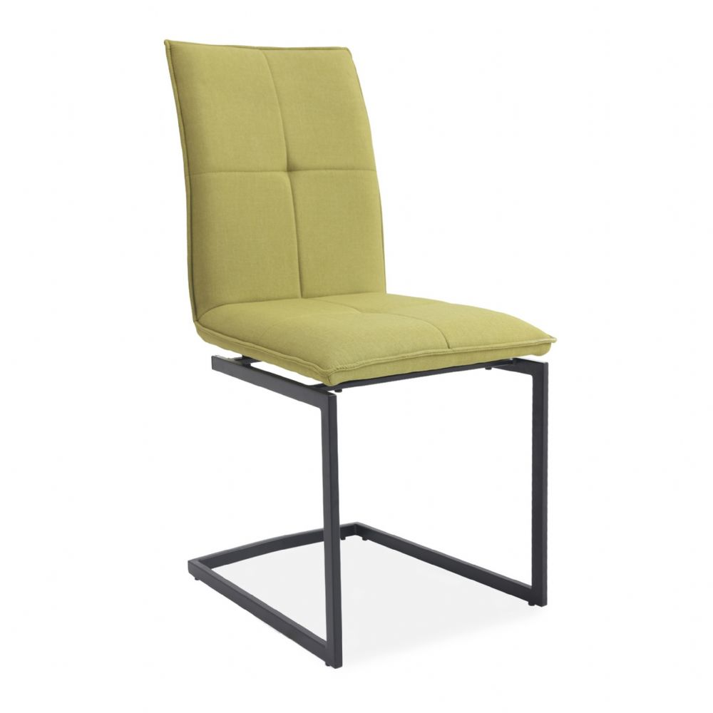 x2 Cantilever Upholstered Dining Chair, Yellow, Metal Legs